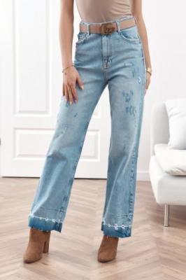 Spodnie jeansowe z szerokimi nogawkami RR7934