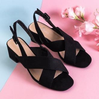 Czarne damskie sandały na niskim słupku Liora - Obuwie