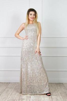 Złota długa damska sukienka w cekiny - Odzież