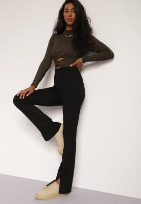 Czarne Spodnie Dzwony Delowai