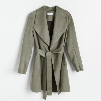 Reserved - Płaszcz z imitacji zamszu - Khaki