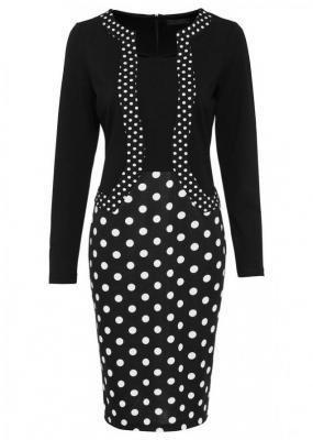 Sukienka ołówkowa z dżerseju w kropki, długi rękaw bonprix czarno-biały w kropki