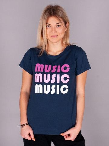 Podkoszulki t-shirt damski granatowy Music S