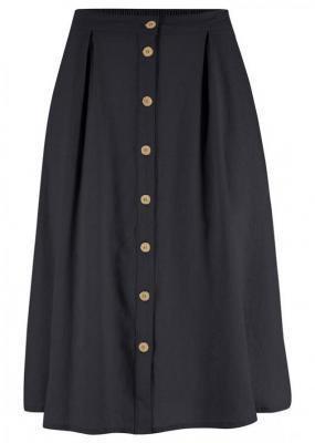 Spódnica lniana z plisą guzikową bonprix czarny