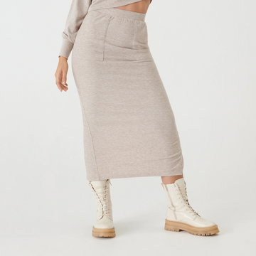 Sinsay - Dzianinowa spódnica - Beżowy