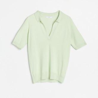 Reserved - Dzianinowa bluzka z kołnierzykiem - Zielony