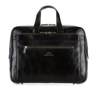 """Męska torba na laptopa 15,6"""" skórzana vintage z licznymi kieszeniami"""