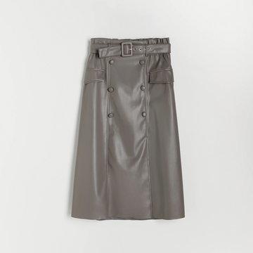 Reserved - Spódnica midi z imitacji skóry - Jasny szary