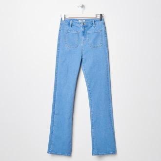 Sinsay - Spodnie jeansowe flare - Niebieski