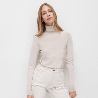 Reserved - Dopasowany sweter z golfem - Beżowy