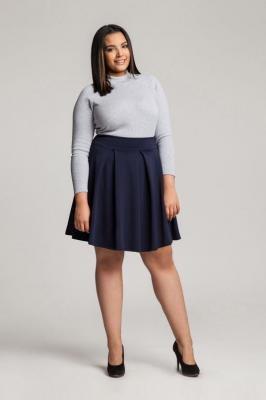 SYLWIA NAVY rozkloszowana spódnica plus size : Rozmiar - 60/62