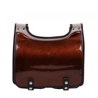 torba skórzana Bookcase na ramię listonoszka beżowo-brązowa