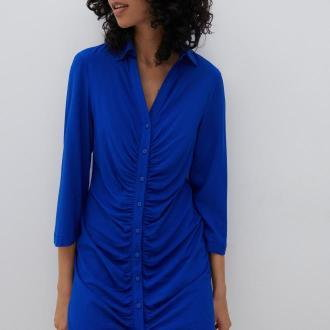 Reserved - Koszulowa sukienka - Niebieski