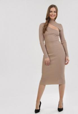 Beżowa Sukienka Dzianinowa Crestarrow