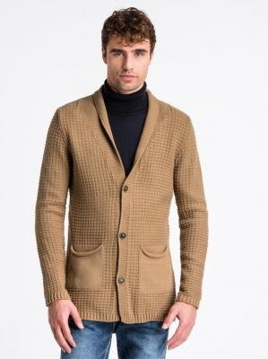 Sweter męski rozpinany E164 - camel - L