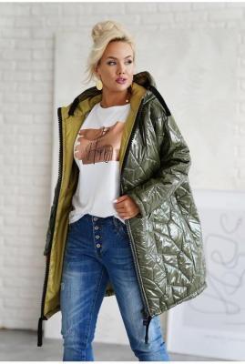 Oliwkowa ciepła długa pikowana kurtka plus size z kapturem - Venice