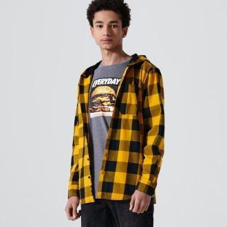 Cropp - Koszula w kratę z kapturem - Żółty