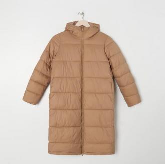 Sinsay - Pikowany płaszcz z kapturem - Brązowy