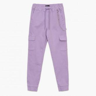 Cropp - Spodnie high waist z kieszeniami cargo - Fioletowy
