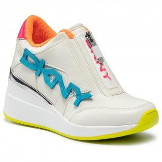 Sneakersy DKNY - Parlan Zip Up Wedge Sneaker K1134014  Lt White/Npink Vfs
