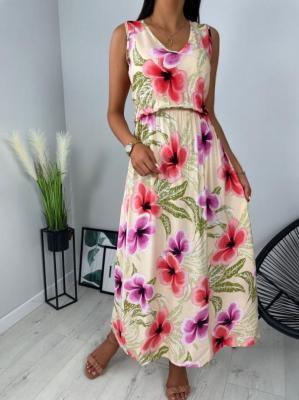 Beżowa Sukienka w Kwiaty Maxi 6297-507-A