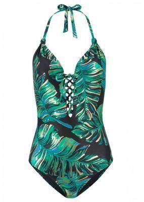Kostium kąpielowy bonprix czarno-zielono-złoty z nadrukiem