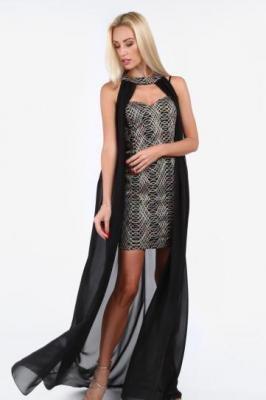 Czarna sukienka z fioletowymi elementami i narzutką G5277