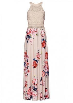 Długa sukienka  z kwiatowym nadrukiem i koronką bonprix beżowo-lila-jasnoróżowy
