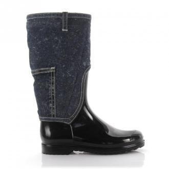 Dolce & Gabbana Kozaki denim guma czarny niebieski