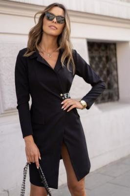 Długa marynarko sukienka czarna FG575