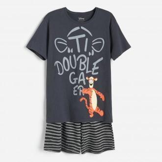 Reserved - Dwuczęściowa piżama z Tygryskiem - Szary