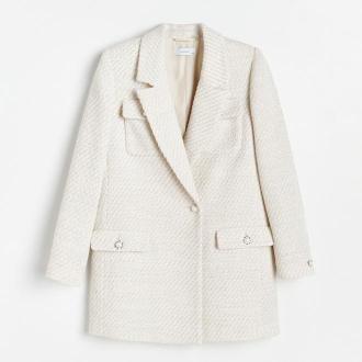 Reserved - Płaszcz o kroju marynarki - Kremowy