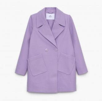 Cropp - Dwurzędowy płaszcz - Fioletowy