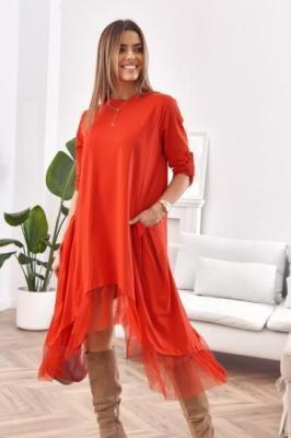Asymetryczna sukienka oversize czerwona FK583