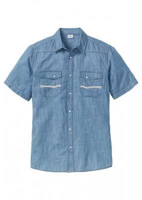 """Koszula dżinsowa z krótkim rękawem bonprix niebieski """"stone"""""""