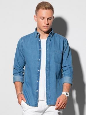 Koszula męska z długim rękawem K568 - niebieska - S