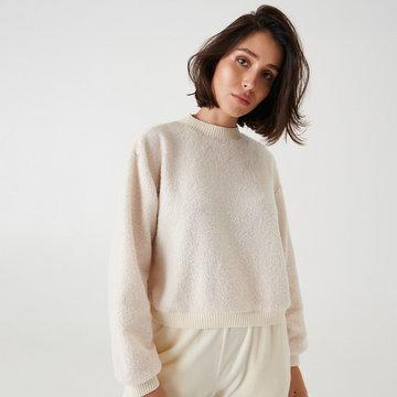 Sinsay - Krótka pluszowa bluza - Kremowy