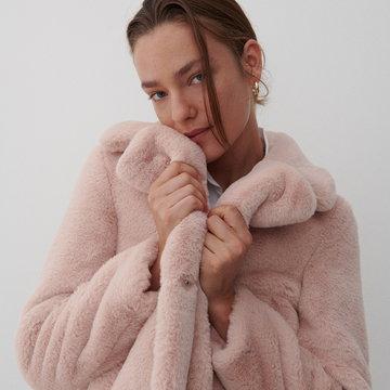 Reserved - Futrzany płaszcz - Kremowy