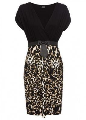 Sukienka z dżerseju bonprix czarny - leo