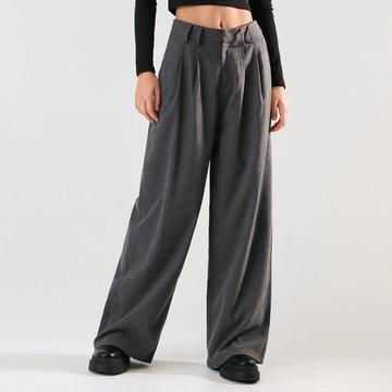 Sinsay - Spodnie wide leg - Szary