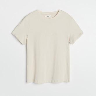 Reserved - T-shirt z haftowanym napisem - Kremowy