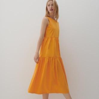 Reserved - Sukienka midi - Pomarańczowy