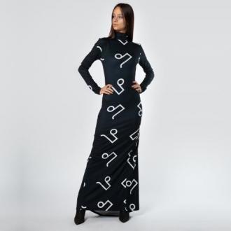 Czarna Sukienka Maxi W Monogram Pilawski
