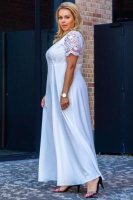 Sukienka do ślubu z koronkowym karczkiem długa MELANIA ecru