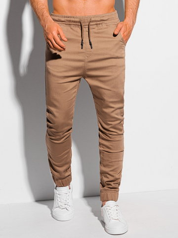 Spodnie męskie joggery 1037P - ciemnobeżowe - S