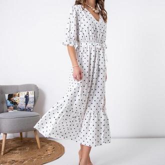 Biała damska długa sukienka w groszki - Odzież