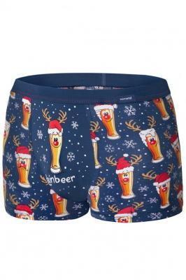 Cornette Merry Christmas Beer 007/53 Majtki bokserki, granat