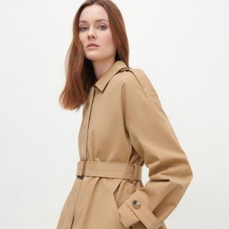 Reserved - Lekki płaszcz z bawełny - Beżowy