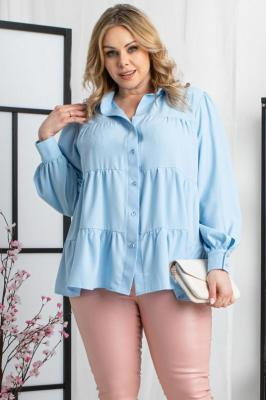 Bluzka elegancka swobodna z falbanek EWITA błękitna