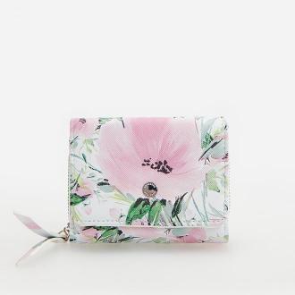 Reserved - Mały portfel w kwiaty - Fioletowy